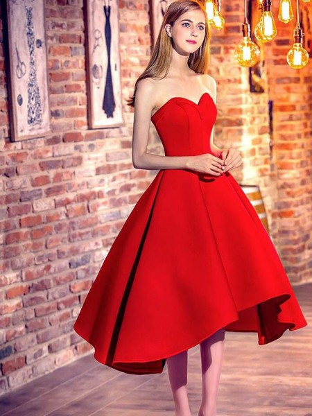A-Line/Princess Sleeveless Ruffles Satin Short/Mini Sweetheart Dresses