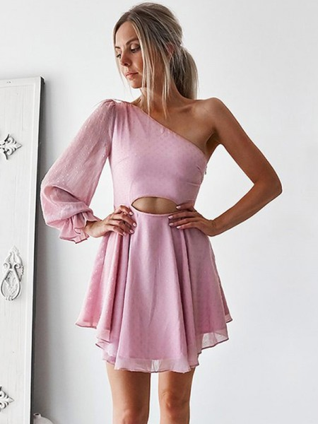A-Line/Princess Long Sleeves Ruffles Chiffon Short/Mini One-Shoulder Dresses