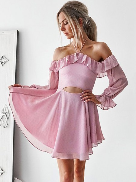 A-Line/Princess Long Sleeves Ruffles Chiffon Short/Mini Off-the-Shoulder Dresses