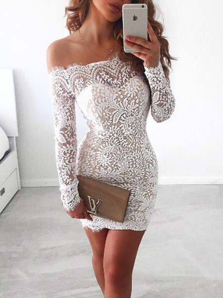 Sheath/Column Off-the-Shoulder Lace Short/Mini Long Sleeves Dresses
