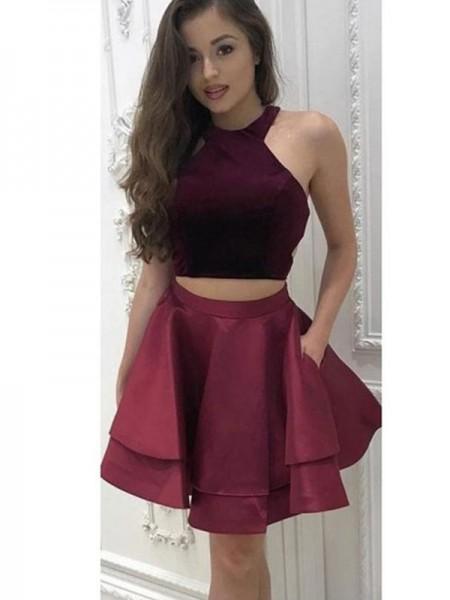 A-Line/Princess Halter Satin Short/Mini:Sleeveless Dresses