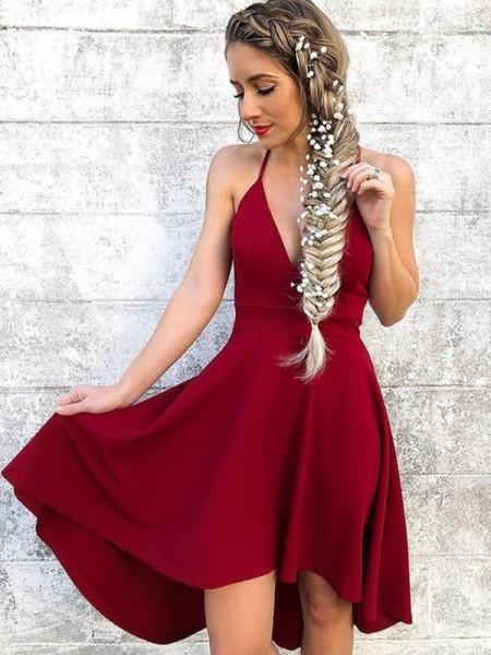 A-Line/Princess Halter Spandex Knee-Length Sleeveless Dresses