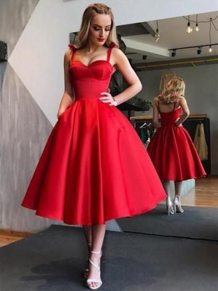 A-Line/Princess Straps Satin Tea-Length Sleeveless Dresses