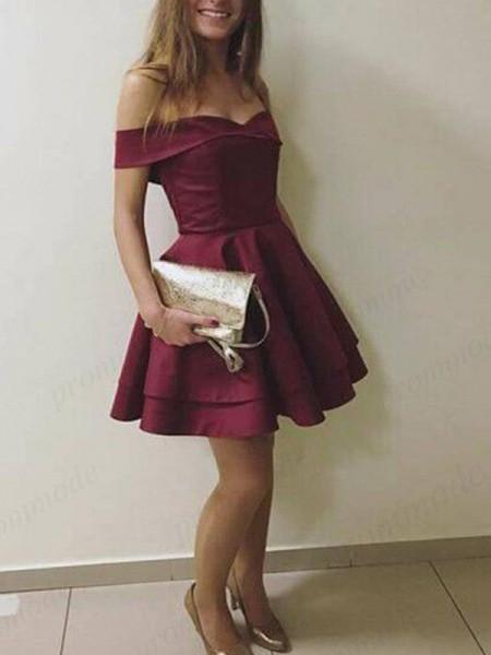 A-Line/Princess Off-the-Shoulder Satin Short/Mini Sleeveless Dresses