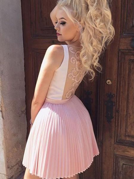 A-Line/Princess V-neck Satin Short/Mini Sleeveless Dresses