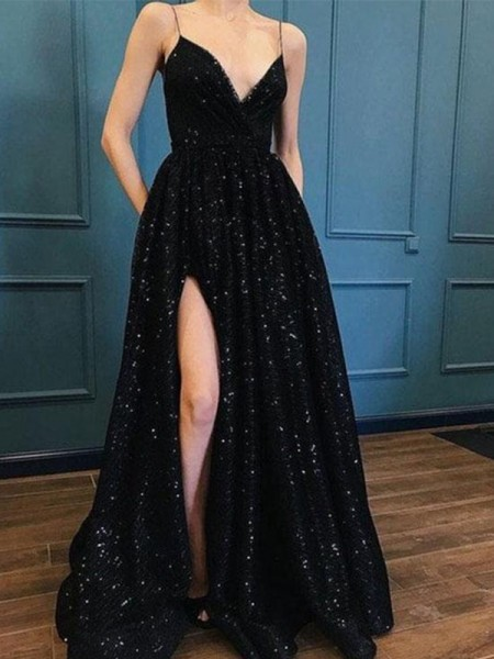 A-Line/Princess Spaghetti Straps Sequins Sweep/Brush Train Sleeveless Dresses