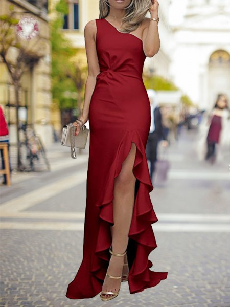 Sheath/Column One-Shoulder Silk Like Satin Sweep/Brush Train Sleeveless Dresses