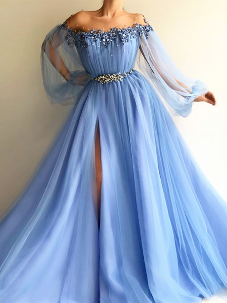 A-Line/Princess Off-the-Shoulder Tulle Floor-Length Long Sleeves Dresses