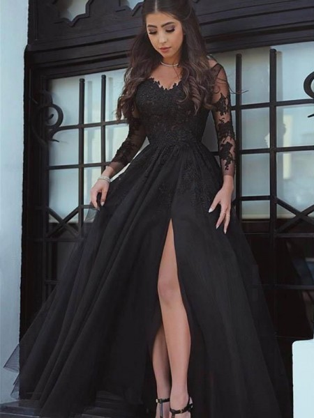 Ball Gown Off-the-Shoulder Tulle Floor-Length Long Sleeves Dresses