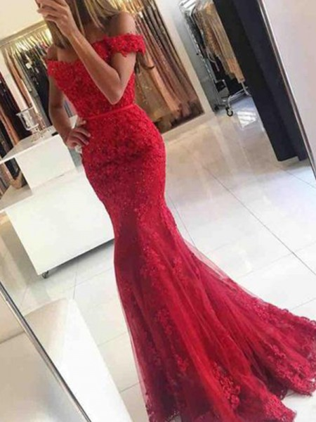 Trumpet/Mermaid Off-the-Shoulder Tulle Sweep/Brush Train Sleeveless Dresses