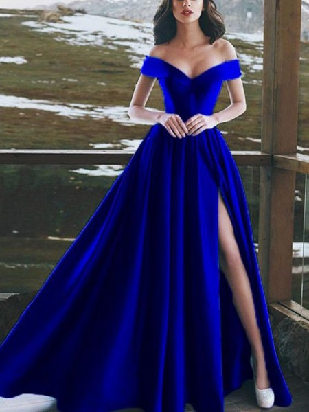 A-Line/Princess Off-the-Shoulder Satin Floor-Length Sleeveless Dresses