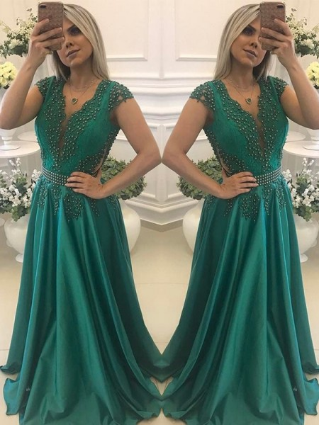 A-Line/Princess V-neck Silk Like Satin Floor-Length Short Sleeves Dresses