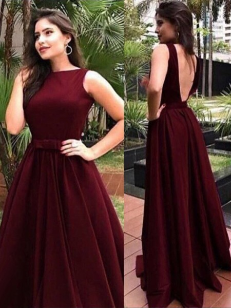 A-Line/Princess Bateau Velvet Floor-Length Sleeveless Dresses