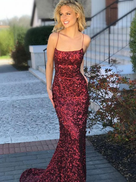 Trumpet/Mermaid Spaghetti Straps Sequins Sweep/Brush Train Sleeveless Dresses