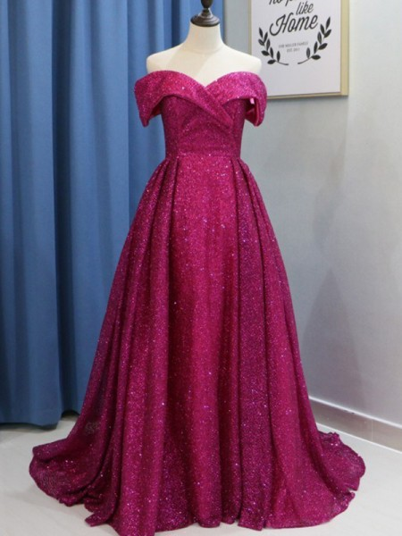 Ball Gown Off-the-Shoulder Sequins Sweep/Brush Train Sleeveless Dresses