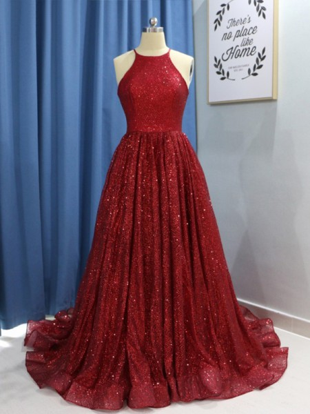 A-Line/Princess Jewel Sequins Sweep/Brush Train Sleeveless Dresses