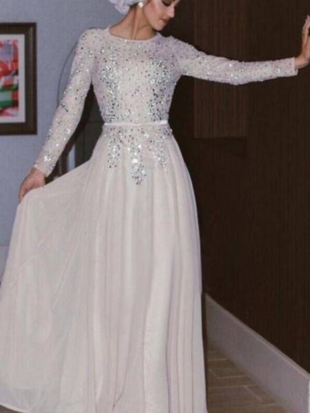 A-Line/Princess Scoop Chiffon Floor-Length Long Sleeves Dresses