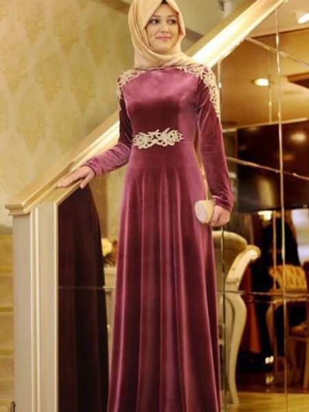 A-Line/Princess Scoop Velvet Floor-Length Long Sleeves Dresses