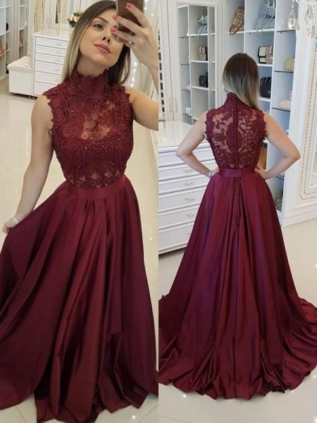 A-Line/Princess High Neck Satin Sweep/Brush Train Sleeveless Dresses