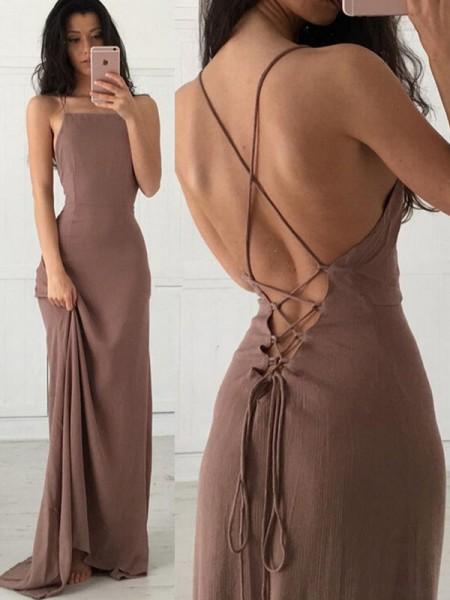 Sheath/Column Straps Chiffon Sweep/Brush Train Sleeveless Dresses