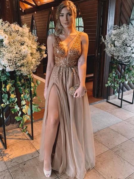 A-Line/Princess V-neck Rhinestone Sleeveless Floor-Length Tulle Dresses