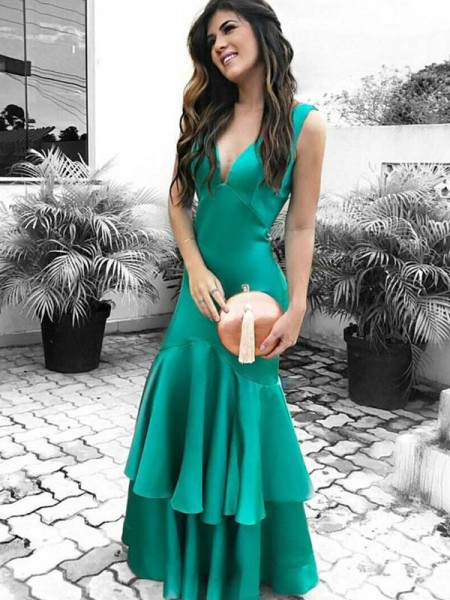 Sheath/Column V-neck Ruffles Sleeveless Floor-Length Satin Dresses
