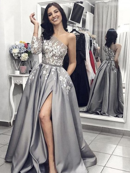 A-Line/Princess One-Shoulder Applique Sleeveless Sweep/Brush Train Satin Dresses