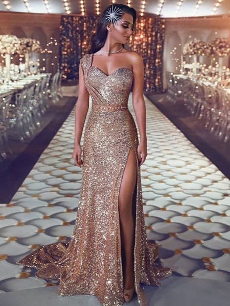 Sheath/Column One-Shoulder Beading Sleeveless Sweep/Brush Train Sequins Dresses