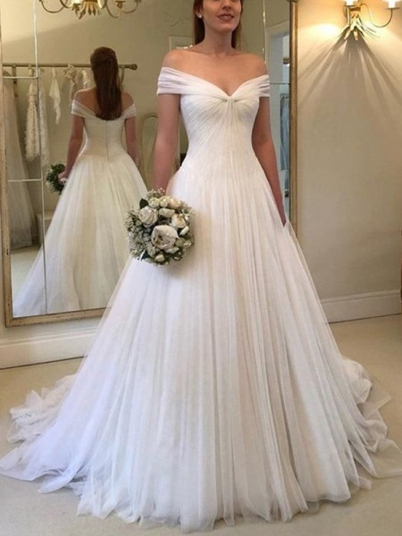 A-Line/Princess Off-the-Shoulder Ruched Sleeveless Sweep/Brush Train Tulle Wedding Dresses