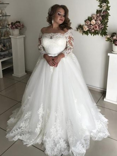 A-Line/Princess Off-the-Shoulder Lace Long Sleeves Sweep/Brush Train Tulle Wedding Dresses