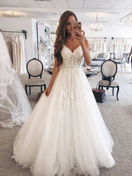 A-Line/Princess Sweetheart Lace Sleeveless Floor-Length Tulle Wedding Dresses