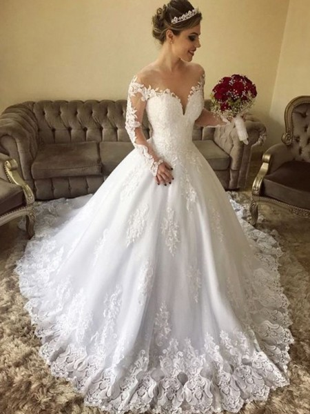 Ball Gown Off-the-Shoulder Lace Long Sleeves Sweep/Brush Train Tulle Wedding Dresses