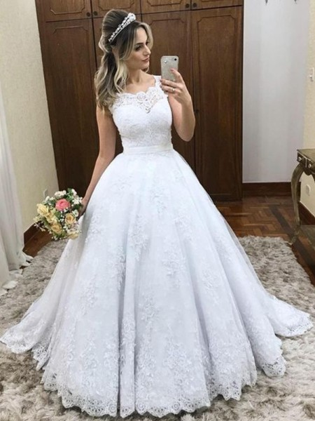 Ball Gown Scoop Lace Sleeveless Sweep/Brush Train Satin Wedding Dresses