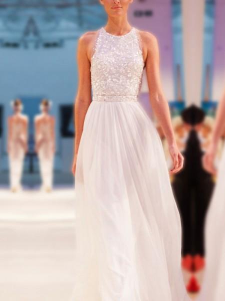 A-Line/Princess Jewel Beading Sleeveless Floor-Length Chiffon Wedding Dresses