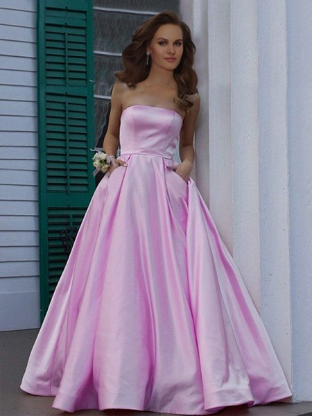 A-Line/Princess Strapless Ruffles Sleeveless Floor-Length Satin Dresses