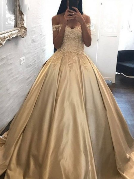 Ball Gown Off-the-Shoulder Applique Sleeveless Sweep/Brush Train Satin Dresses