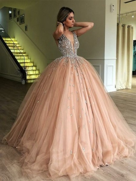 Ball Gown V-neck Beading Sleeveless Floor-Length Tulle Dresses