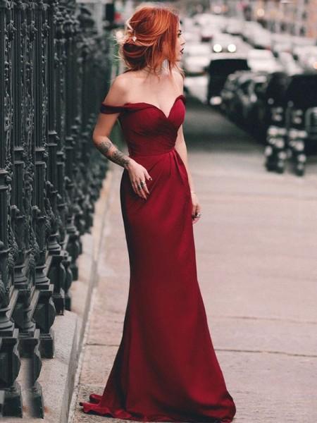 Sheath/Column Off-the-Shoulder Ruched Sleeveless Sweep/Brush Train Elastic Woven Satin Dresses
