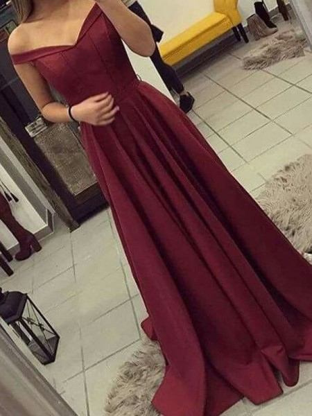 A-Line/Princess Off-the-Shoulder Ruched Sleeveless Sweep/Brush Train Satin Dresses