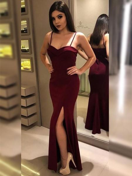 Sheath/Column Spaghetti Straps Sleeveless Floor-Length Jersey Dresses