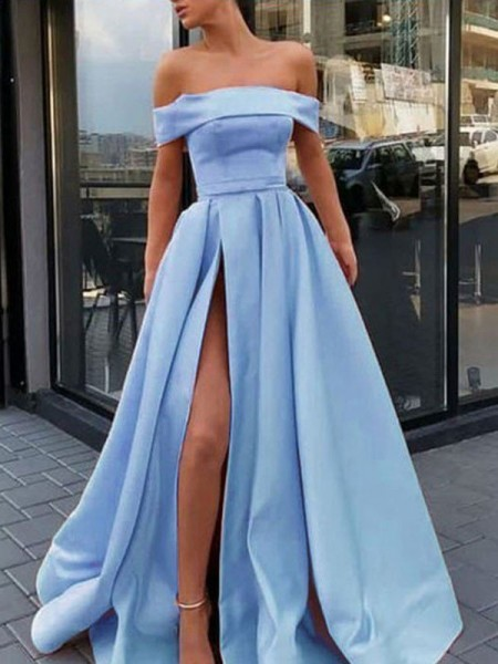 A-Line/Princess Off-the-Shoulder Ruffles Sleeveless Sweep/Brush Train Satin Dresses