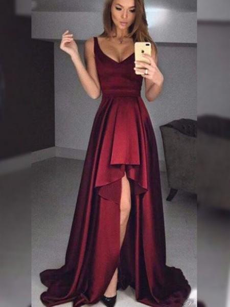 A-Line/Princess Straps Ruffles Sleeveless Asymmetrical Satin Dresses