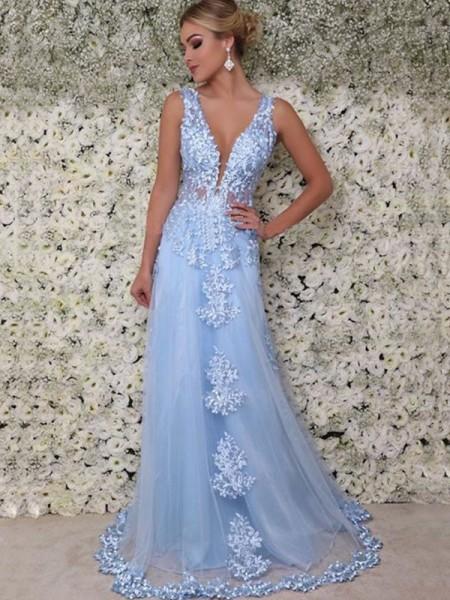 A-Line/Princess V-neck Applique Sleeveless Floor-Length Tulle Dresses