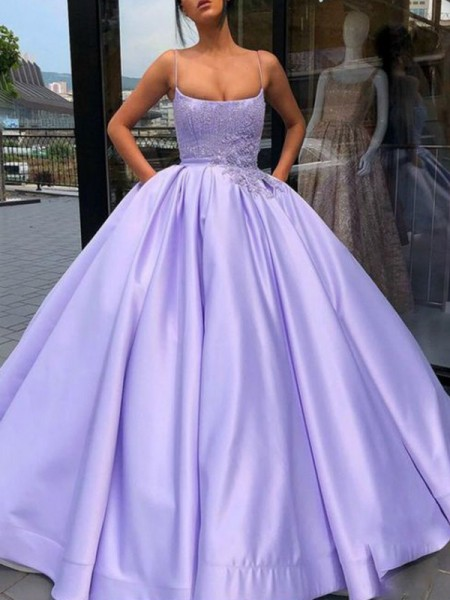Ball Gown Spaghetti Straps Applique Sleeveless Floor-Length Satin Dresses