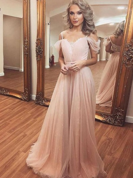 A-Line/Princess Off-the-Shoulder Ruched Sleeveless Sweep/Brush Train Tulle Dresses