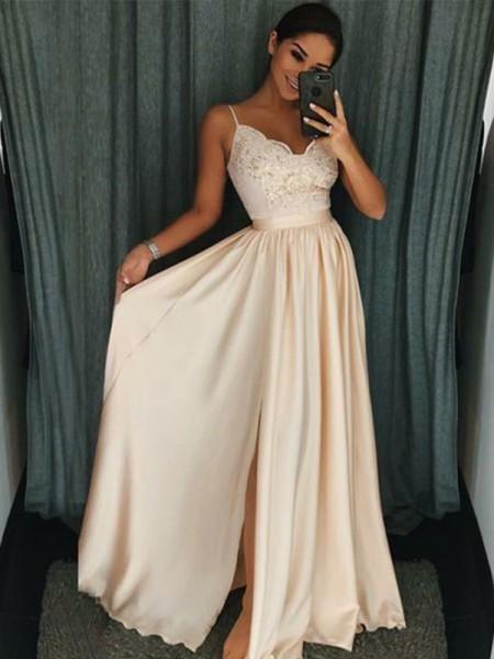 A-Line/Princess Spaghetti Straps Applique Sleeveless Floor-Length Silk like Satin Dresses