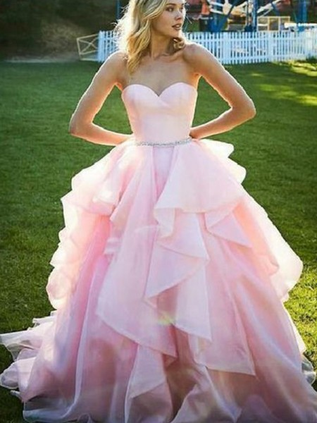 Ball Gown Sweetheart Floor-Length Beading Sleeveless Organza Dresses