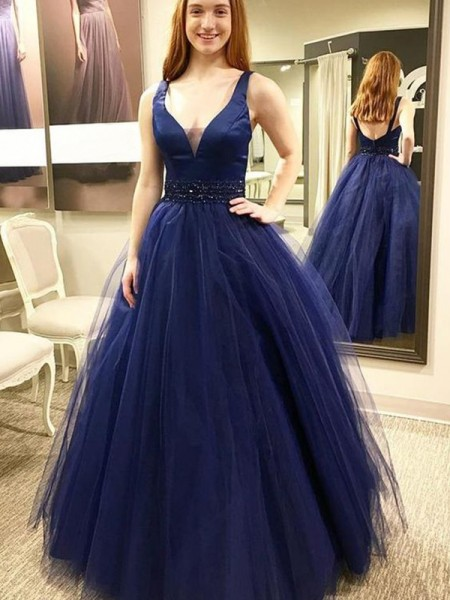 Ball Gown V-neck Floor-Length Beading Sleeveless Tulle Dresses