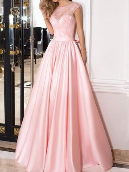 A-Line/Princess Sheer Neck Floor-Length Sleeveless Satin Dresses