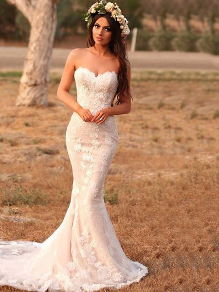 Trumpet/Mermaid Sweetheart Sweep/Brush Train Applique Sleeveless Lace Wedding Dresses